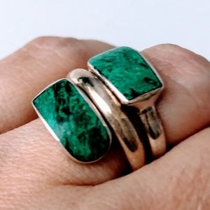 Jewelry - New - Natural Green Stone 950 Sterling Silver